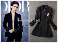 Autumn women's classic black slim look blazer coat with badge decoration longline sharp blazer