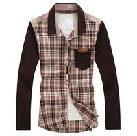 Plus size Long sleeve shirt Male clothes Trend Cotton Slim fit Grid design Free shipping New 2014 Autumn 3XL 4XL 5XL