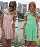 Lace patchwork chiffon one-piece dress