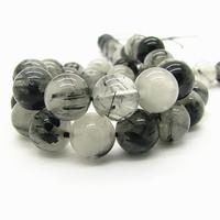 Natural Stone Beads 6 8 10mm Round Ball Dull Polish Black Agat Semi precious Tourmaline Gem stone Pendant Bracelet Bead HB553