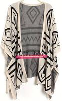New 2014 Spring/Summer Fashion Women's Casual Oversized Apricot Three Quarter Length Sleeve Geometric Pattern Cardigan Sweater