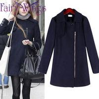 2014 winter coat women woolen long coat jacket zipper british casual casacos femininos outerwear women woolen overcoat PH2100