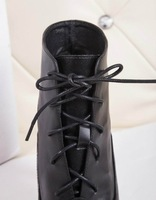 brands Women high  Boots  full black genuine leather with lace-up