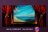 """Original Metal Wall Art Modern abstract Painting Sculpture Home Decor  """"Ocean Window   """"   ,Set of 3, 24.5""""x48.5"""""""