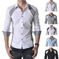 Free shipping 2014 hot sale new fashion men casual slim shirt, long-sleeve classic splicing design men shirt, wholesale