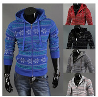 Free Shipping 2014 spring and autumn romantic Christmas Casual Sports Hooded Jackets Man hoody  long-sleeve cardigan sweatshirt