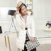 new fashion 2014 plus size XS/XXXL coat women winter jacket long down thicken jackets fur collor hooded belt coats parka X1382