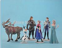 Frozen 2014 kids Child Baby Figurine Play Figures Princess Anna Elsa Hans Sven Olaf PVC Snow Adventure Toys Dolls model set