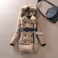2014 women coat casacos femininos women's long down jacket winter  thicker desigual coat with belt down & parkas