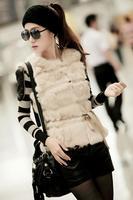 New  2014 fur & leather coat fur vest rex rabbit hair genuine leather patchwork popper all-match vest fur vest Women belt