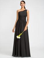 Customised Sheath/Column One Shoulder Floor-length Chiffon Bridesmaids Dress With Beading / WD005