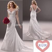 New Arrival V-Neck Short Sleeve Fashion Wedding Dress Low Back Sheath Wedding Gown 2014  ---- AA180