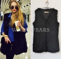 Free Shipping Womens Fashion Faux Fur Shaggy Vest Sleeveless Outerwear Waistcoat 6Size [4 70-6213]