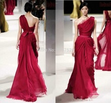 2014 New Arrival Vestido de noche Sexy Open Back Elegant One Shoulder Ruched Chiffon Red Evening Dress with Ribbon AA87()