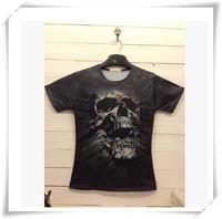 2015 New Design  3D Men T-Shirts Men T-Shirts Skeleton Print Round Collar Short-Sleeved  Loose Cotton Casual Men Funny Tops