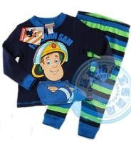 2014 new arrival Fireman SAM boy summer clothing set blue short sleeve shirt FREE SHIPPING