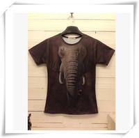 2015 New Design  3D Men T-Shirts Men T-Shirts Cute  Elephant  Print Round Collar Short-Sleeved  Loose Cotton  Men Funny Tops
