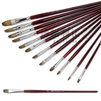 12Pcs/Set Bergino Round Mixed Animal Hair Paint Brush Set Watercolor Painting Brush Oil Paint Acrylic Water Chalk Art Supplies
