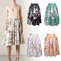New 2014 Autumn Winter Vintage High Waist Peach Floral Print Ball Gown Pleated Midi Skater Skirt Saia For Women Girl 148012