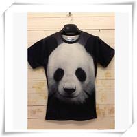 2014 New Design  3D Men T-Shirts Men T-Shirts Cute Panda Print Round Collar Short-Sleeved  Loose Cotton  Men Funny T-Shirts