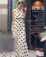 Summer Dress 2014 Women Polka Dot Print Chiffon Dress Sexy Long Maxi Dress Bohemian Party Dresses Casual Feniminos Vestidos 2435