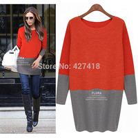 Promotion! Free Shipping 2014 Fashion Autumn Winter Women Dress Victoria Beckham Red White Knee Length Sweater Dress Long Sleeve