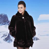 New 2014 Winter Women Luxury High Faux Mink Coat Loose Overcoat Warm Marten Fur Mother Clothing Outerwear Plus Size XL-5XL