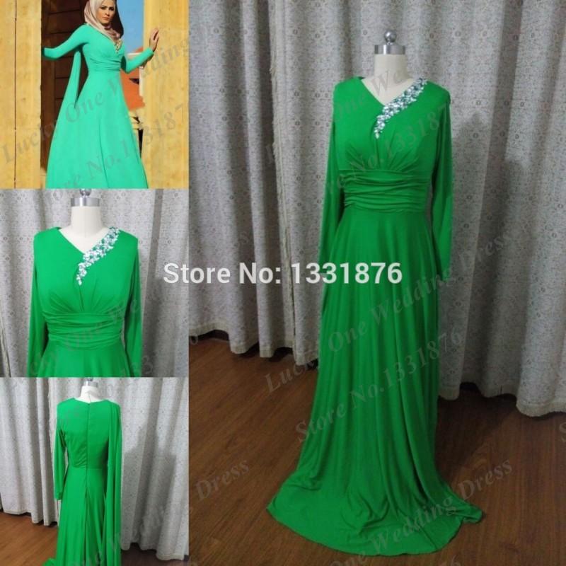 Dubai Kaftan Dress Prom 2014 Muslim Maxi Long Sleeve Islamic Clothing