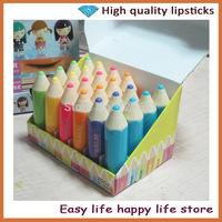 24PCS/Lot Free Shipping Colorful pencil tube lib balm transparent Makeup Lipstick Tools Lip Balm For Lip Care 2.4g H1052