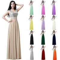SD125 A line Luxury Sequin Prom evening dresses 2014 vestido de festa Sexy V Neck Draped Chiffon Champagne Long Prom Dress 2014