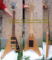 Natural Color Sapeli Body Mahogany Neck Floyd Rose Vibrato Tremolo Flying V Strange Shape Electric Guitar ELECGUITAR No.0008-6