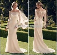 robe de mariage long sleeve wedding dress 2014 see through back mermaid wedding dresses sexy lace wedding dress vestido de noiva