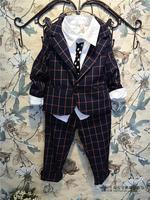 (5 pcs/lot)wholesale children's clothing wholesale boys stylish small lattice suit A6302