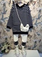 2014 new autumn and winter Ann baby girls fall winter 2014 Korean children kitten stripe long sleeve + pants suit R1607