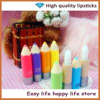 10PC/lot New Arrival Hot Sale Lovely Design Pencil Lip Balm baby lips Mix Natural Plant Fruit Flavor Lip Balm Makeup Lipstick