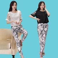 d-497 летом новый женский Европейский и американский стиль печати моды двух штук юбка, топ офис высокое качество наборов женщин