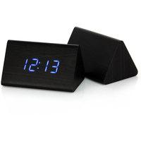 Promotion Triangular Blue LED Digital Black Alarm Desk Clock Thermometer Voice Sensor Free shipping#200352