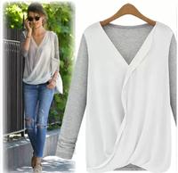 New Style High-density Stitching Knitted Chiffon Fashion Shirt Women's 2014 Long Sleeve V-neck Blouse