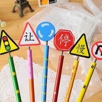 24pcs/lot Creative Cute Cartoon Traffic Signs Wooden Handmade Standard Pencils School Office Promotion Gifts Wholesale