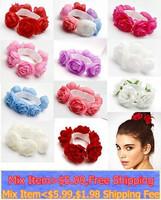 2014 New Fashion  Flower Bun Garland Floral Head Knot Hair Top Scrunchie Band Elastic Bridal