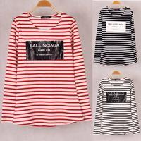 2014 Fashion Brands Winter Women's Ballinciaga Print T-shirts Striped Long Sleeve Cotton Tops Tees For Woman Plus size SML