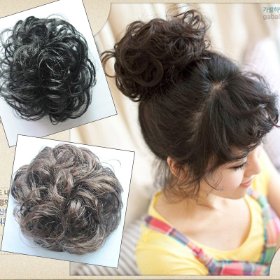 Retail 1pcs/pack Girl's Hairpiece Rubber band inside Hair Bun Hair Extensions PP21(China (Mainland))