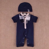 Retail  Brand  2014  New  fashion  summer  baby's  romper  single  breasted  with  hat  V-Neck  sleeved  unesix  baby  romper