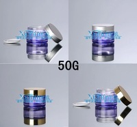 EPF  50G purple clear glass cream jar with silver/gold cover ,cosmetic container,Cosmetic Jar,Cosmetic Packaging,glass bottle