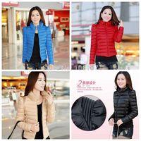 2015  S-2XL  Autumn  winter women's stand collar thin down coat female short design 4Colors  slim down coat Jacket