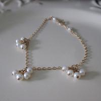 Private Custom1/20 14kt Gold Filled Natural Freshwater Pearl Four Beads Pendant Bracelet AGETE