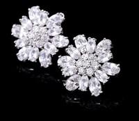 Elegant Flower Shaped Swiss Cubic Zircon Women Luxury Stud Earring. Classic Christmas Evening Ladies Jewelry