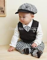 Baby Boy Formal Gentleman Suit Cap+Vest+White T-Shirt Top+Pant+Tie 5Pcs Set Children Long Sleeve Plaid Outfits Kids Clothing Set