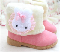 2014 Hot Sales! Girls pretty cute fashion Plush stuffed snow boots.Bunny decoration,Girls boots,Children's shoes
