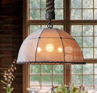 Lamp american vintage bar counter coffee Large twiner lamp holder hemp pendant light